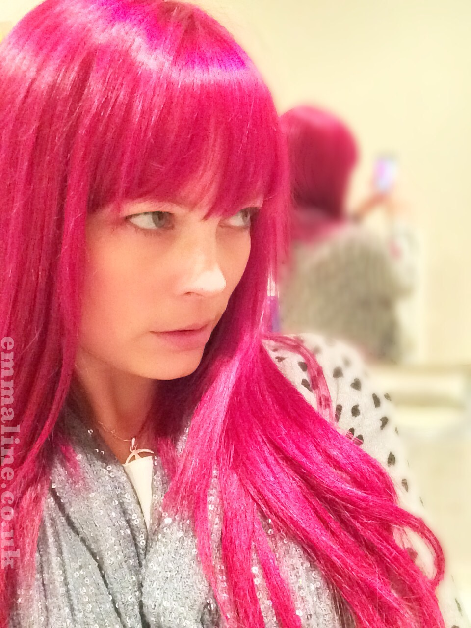 Bright pink hair girl